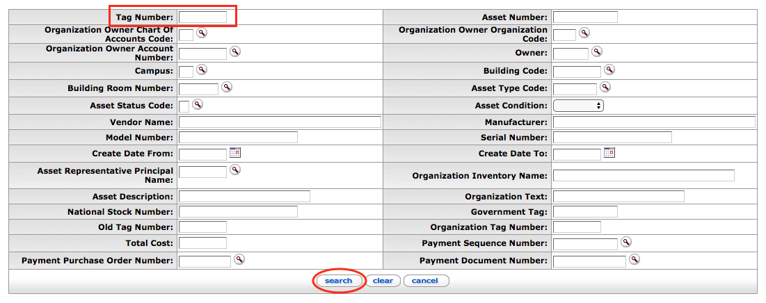Asset Lookup Form in KFS
